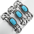 Turquoise Stones Set in Sterling Silver Cuff 32120