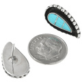 Turquoise Inlay Silver Post Earrings 32136