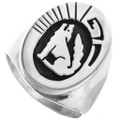 Navajo Sterling Silver Wolf Ring 32156