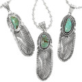 Green Turquoise Set in Sterling Silver Pendant 32165