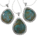 Spiderweb Turquoise Pendant in Navajo Sterling Silver 32174