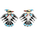 Turquoise Coral Shell Thunderbird Earrings 32180