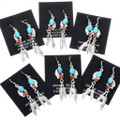 Turquoise and Coral Navajo Earrings 32183