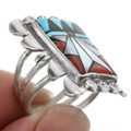 Coral Turquoise Zuni Pattern Inlay Ring 32201
