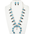 Turquoise Silver Squash Blossom Necklace Set 32267
