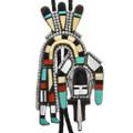 Large Vintage Zuni Rainbow God Bolo Tie 32318