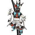 Vintage Inlaid Apache Dancer Silver Bolo Tie 32346