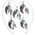 Bear Claw Silver Feather Pendant 32416