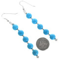 Turquoise Silver Bead Dangle Earrings 32445