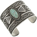 Green Turquoise Hammered Silver Cuff 32493