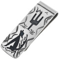 Navajo Coyote Silver Money Clip 32852