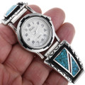 Turquoise Coral Silver Mens Watch 32961