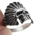 Indian Chief Headdress Skull Mens Ring 32967