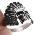 Indian Chief Headdress Skull Mens Ring 32967