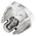 All Silver Biker Skull Ring 32967