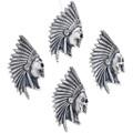 Antiqued Sterling Indian Chief Headdress Skull Pendant 32973