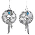 Turquoise Silver Concho Earrings 33057