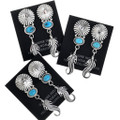 Sterling Post Style Concho Turquoise Feather Dangle Earrings 33070
