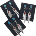 Coral Turquoise Silver Feather Earrings 33073