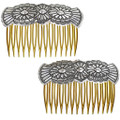 Navajo Handcrafted Repousse Silver Hair Comb 33076