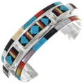 Native American Turquoise Coral Inlay Cuff Bracelet 33179
