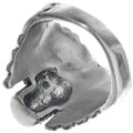 Skull Turquoise Eyes Sterling Silver Ring 33185