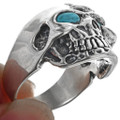 Claw Face Skull Turquoise Eyes Biker Ring 33186
