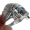 Sterling Silver Indian Chief Skull Ring 33188