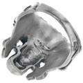Sterling Silver Skull Turquoise Eyes Mens Ring 33188