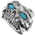 Sterling Silver Turquoise Skull Ring 33191