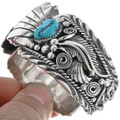 Vintage Native American Turquoise Silver Ladies Watch Cuff 33216