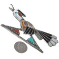 Zuni Inlay Coral Shell Turquoise Roadrunner Pin 33249