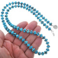 Turquoise Silver Beaded Navajo Necklace 33332