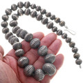 Stamped Silver Graduated Bead Desert Pearl Necklace 33621