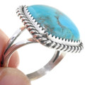 Turquoise Single Stone Silver Ladies Ring 33636