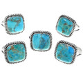 Twist Wire Design Turquoise Single Stone Silver Ring 33636