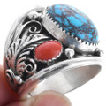 Turquoise Coral Sterling Silver Mens Ring 33691
