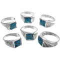 Stepped Pattern Sterling Silver Navajo Rings 33840