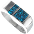 Navajo Mens Spiderweb Turquoise Ring 33883