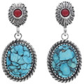 Turquoise Coral Sterling Silver Earrings 33851