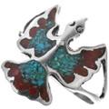 Navajo Turquoise Coral Bird Ring 34013