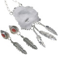 Coral Sterling Eagle Ladies Link Necklace With Dangle Earrings 34065