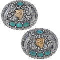 Turquoise Gold Silver Belt Buckle 17446
