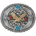 Gold Eagle Turquoise Coral Belt Buckle 24411