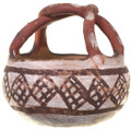 Vintage Isleta Polychrome Pottery With Twisted Handle 0257