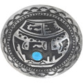 Sterling Silver Turquoise Pottery Design Belt Buckle 34183