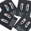 Native American Inlay Hoop Post Earrings 34293