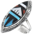Zuni Inlay Turquoise Ladies Ring 34327
