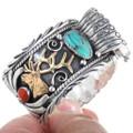 Navajo Silver Gold Turquoise Elk Bracelet 34424