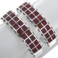 Navajo Red Coral Inlay Silver Bracelet 34441